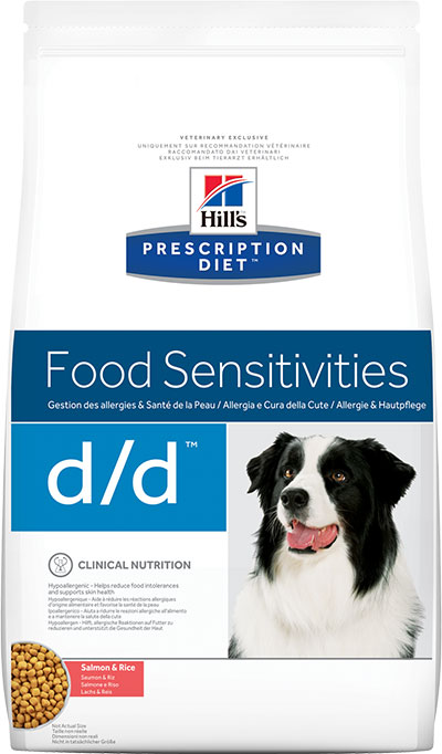 HILL'S Prescription Diet Сухой корм для собак при лечении пищевой аллергии с лососем и рисом Canine d/d Food Sensitivities Salmon&Rice