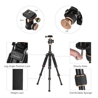 Andoer 53cm/21″ Travel Portable Mini Tabletop Tripod with Phone Tripod Mount + Ball Head Quick Release Plate