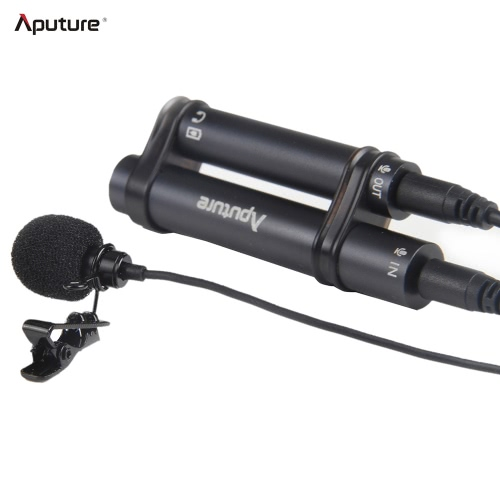 Aputure Professional Omnidirectional Lavalier Microphone with Windshield Clip for Recorder DSLR Video Camera iPhone Samsung iPad
