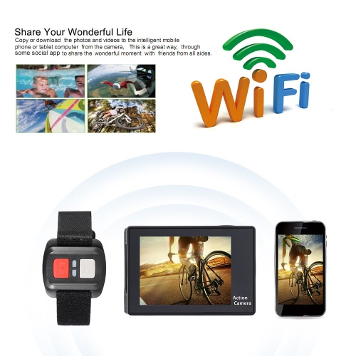 2.0″ LCD 4K(3840*2160) 15fps 1080P 60fps Full HD Wifi APP 30M Waterproof 12MP Sports Action Camera DV 170°Wide Angle Lens with Remote Watch
