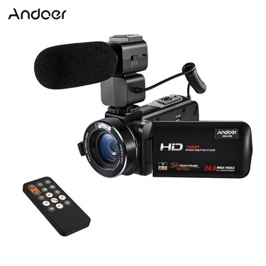 Andoer HDV-Z20 1080P Full HD 24MP WiFi Digital Video Camera Camcorder with External Microphone 3.0″ Rotatable LCD Touchscreen Remote Control Support LED Lamp 16X Digital Zoom