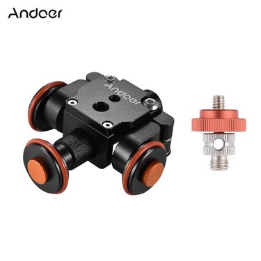 Andoer Electric Motorized Auto Camera Dolly Video Slider Skater 3-Wheel Pulley Car for Canon Nikon Sony DSLR for iPhone X 8 7 Plus 6s Smartphone for GoPro Hero 5/4/3+/3 Action Sports Cam