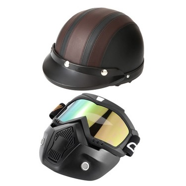 Mortorcycle Mask Detachable Goggles and Mouth Filter+ Open Face Half Leather Helmet with Visor UV Goggles 54-60cm