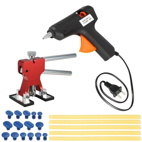Car Paintless Dent Repair Tools Dent Puller +15 Pcs Glue Tabs +110-240V 40W Hot Melt Glue Gun w/ 5pcs Glue Sticks US Plug