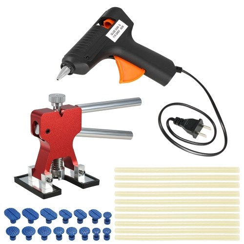 Car Paintless Dent Repair Tools Dent Puller +15 Pcs Glue Tabs +110-240V 40W Hot Melt Glue Gun w/ 10pcs Glue Sticks