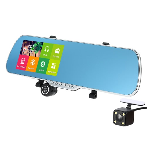 5″ Android 4.4 Smart GPS Navigation Car Rearview Mirror DVR With Rearview Camera