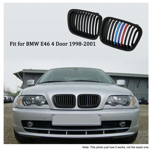 One Pair Matt Black Front Kidney Grille M Style Grill with Red Blue & Dark Blue Color Decoration for BMW E46 4 Door 98-01