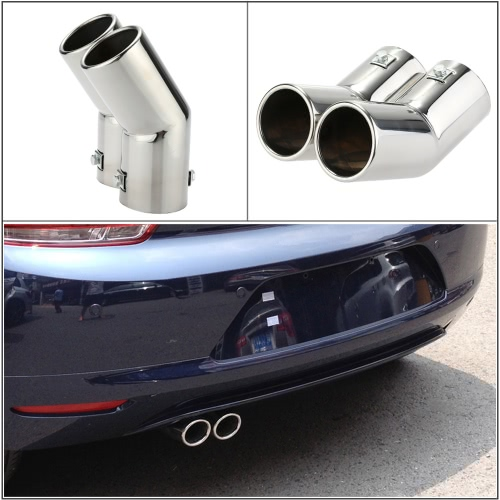 Dual Pipes Stainless Steel Exhaust Tail Pipes Muffler Tips for VW Golf 4 Bora Jetta