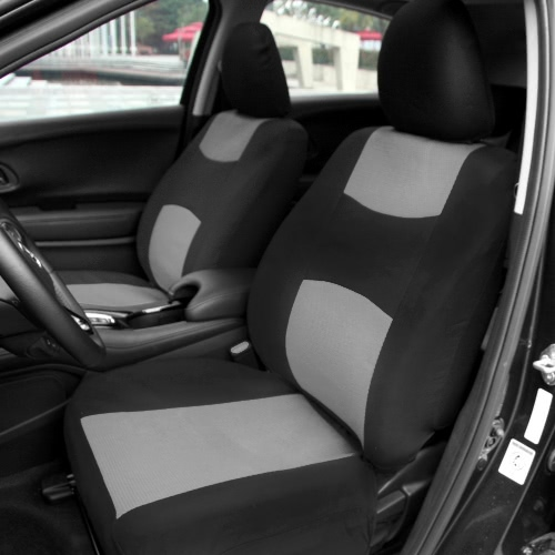 Universal Car Seat Cover Set 10Pcs Seat Covers Front Seat Back Seat Headrest Cover Mesh Black and Gray/Red