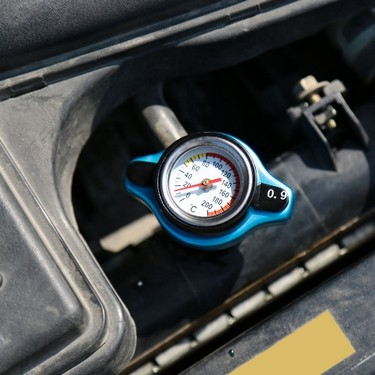 Thermostatic Radiator Cap Cover with Water Temp Temperature Gauge 0.9 / 1.1 / 1.3BAR Blue