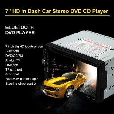 7″ Universal 2 Din HD BT Car Stereo DVD CD Player Touch Screen Radio Entertainment Multimedia USB/TF FM Aux Input TV