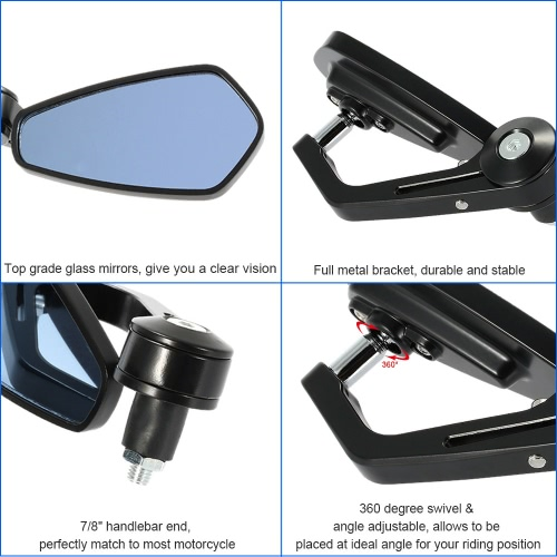 Pair of Motorcycle End Bar Rearview Mirror Universal 7/8″ Handle Bar 360°Swivel & Angle Adjustable Side View Mirrors