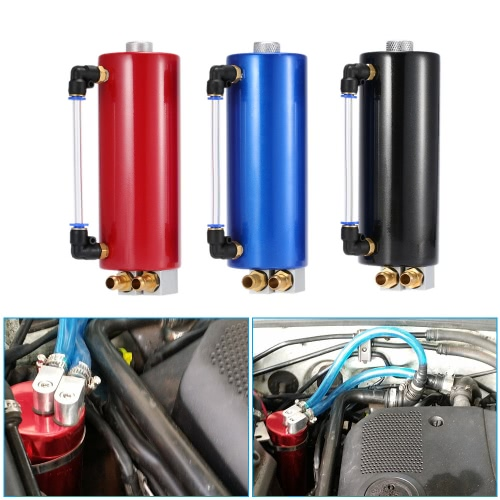 Universal Aluminum Racing Engine Oil Catch Tank Car Billet Round Turbo Reservoir Can Kit