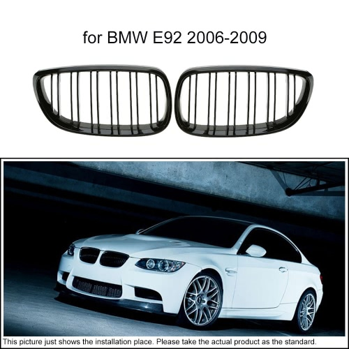 One Pair of Car Gloss Black Front Grille Decoration Grilles for BMW E92 2006-2009
