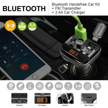 BT FM Transmitter Handsfree Phone Calling Car Kit MP3 Player with TF Card Slot Dual USB Port Car Charger for iPad iOS Android Mobile Phone GPS Navigator