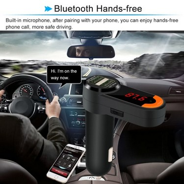 Dual USB LED Display 2.1A Car Charger Handsfree Call BT FM Transmitter Wireless Music Playing for iPhone Galaxy