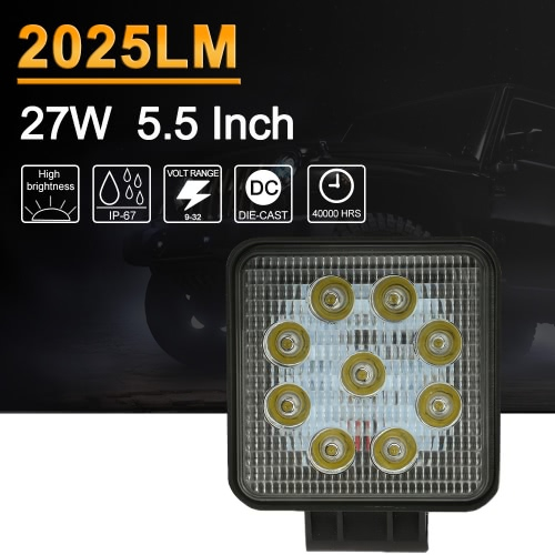 KKmoon 27W LED Car Work Light Bar 5.5 Inch 2025LM Spot Beam for Jeep 4×4 Offroad ATV Truck SUV 12V 24V