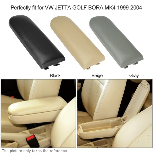 Fiber Leather Armrest Cover Center Console Armrest Cap with Latch Lid  Gray for VW Golf MK4 Passat B5 Polo R32 1998-2009