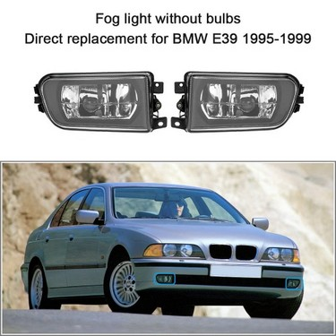 1 Pair Left & Right Front Fog Light H7 Base without Bulbs Replacement Kit for BMW E39 1995-1999