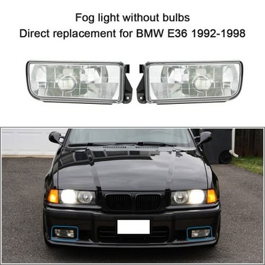 1 Pair Left & Right Front Fog Light H1 Base without Bulbs Replacement Kit for BMW E36 1992-1998