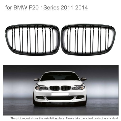 Pair of Car Gloss Black Front Grille Decoration Grilles for BMW F20 1Series 2011-2014