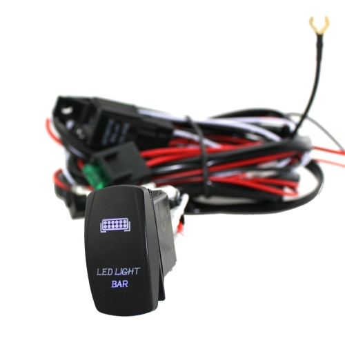 LED Light Bar Rocker On/Off Switch with Relay Wiring Harness Kit 12V 40A Relay for Jeep RV Boat Trailer