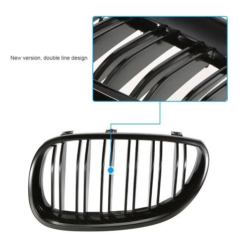 Pair of Gloss Black Car Front Grilles with Double Line for BMW E60 4-Door 2003-2009