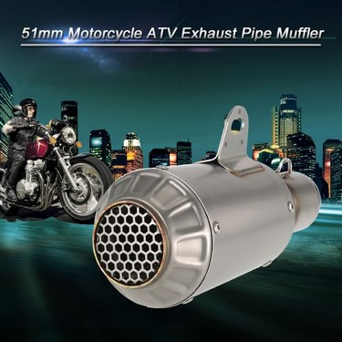 51mm Refit Muffler Pipe Blueing Stainless Steel Extended Exhaust Muffler Tail Pipe Universal for Motorcycle ATV