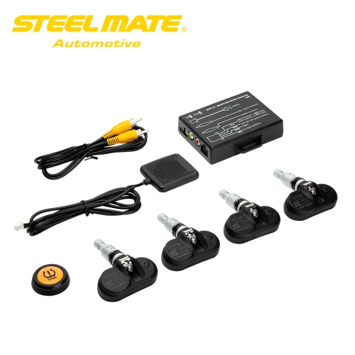 Steelmate TP-05 Tire Pressure Monitoring System TPMS for in-dash A/V Monitor with Remote Button 4 Professional Internal Sensors