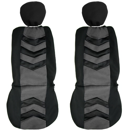 Universal Car Seat Cover Black Gray 2Front Seat Covers Fit Most Auto Car
