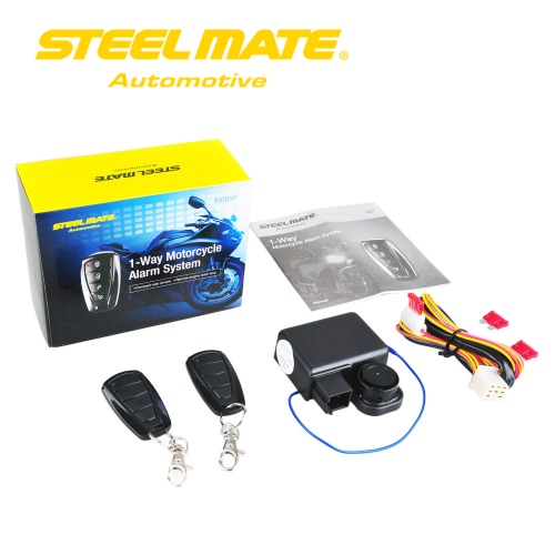 Steelmate 986F 1 Way Motorcycle Alarm System Engine Immobilization Remote Engine Start with Two Transmitter