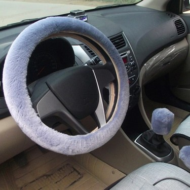 3Pcs Car Styling Steering Wheel Hand Brake Change Lever Winter Wool Felt Soft Comfortable Auto Accessories Cover Interior Case Plush Decoration