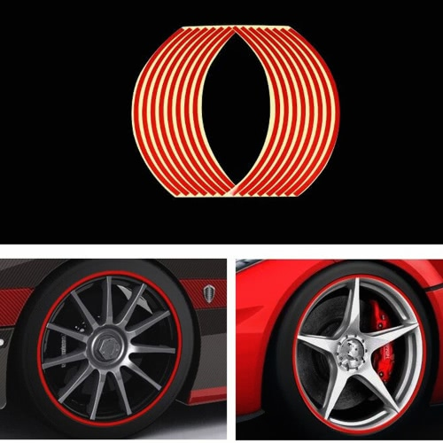 16Pcs Rim Strips Cool Car Styling Wheel Reflective Sticker Motorcycle DIY Personalized Decoration Modification Tape Decals Tire
