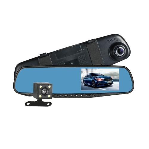 "FHD 1080P 4.3"" Dual Lens Car DVR Rear View Mirror Dash Cam Video Camera Recorder"