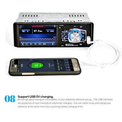 4012B 4.1 inch 1 Din Car Radio Auto Audio Stereo FM MP5 Player with Rear View Camera and Steering Wheel  Remote Control