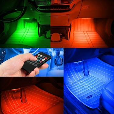 4pcs 48 LED DC 12V Multicolor Music Car Interior Atmosphere Light Car Floor Dash LED Decoration Lamp Kit  Wireless Remote Control Included
