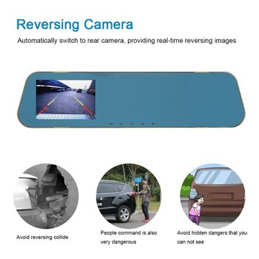 "KKmoon 4"" 1080P FHD Dual Lens Car DVR Rear View Dash Cam Video Camera Recorder"