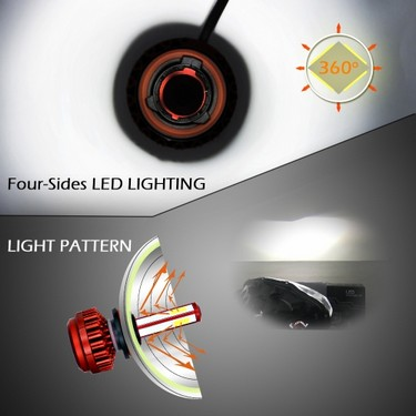 Pair of Car LED Headlight Lamp Bulb H4 HB2 9003 80W 6000K  8000LM Super Bright 4 Sides