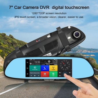 Junsun 7″ 3G  Car Camera DVR Touch Screen GPS Navigation  HD 1080P Dual Lens Rearview Mirror Video FM Transmit +Free Europe Map