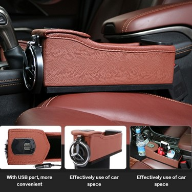 Double USB Port Multifunction Leather Catcher Box Car Seat Cup Coil Pocket Storage Organizer