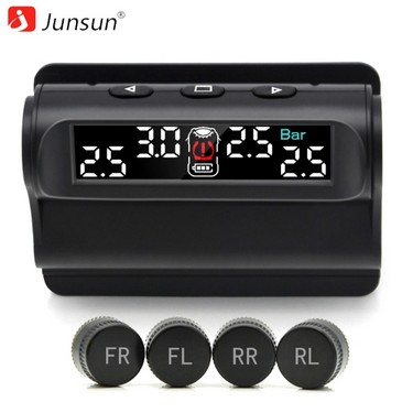 Junsun TM101.W Car TPMS Tire Pressure Monitoring System Solar Charging Digital LCD Display Auto Alarm System with External Sensor