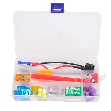 40Pcs Low-profile Mini Car Fuse Kit Color Coded Assorted Fuses with Clip Puller Fuse Tap Adapter for Vehicle Truck Boat SUV Home