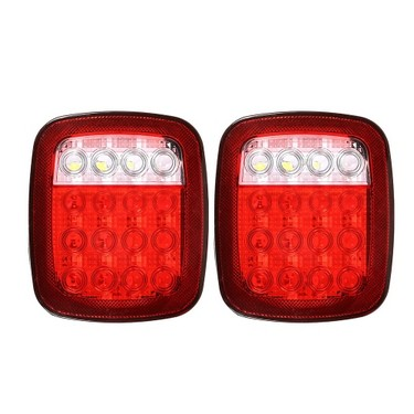 2Pcs 16 Led Red/White Dual Colors Universal Back Up Lamp Stop Tail Turn Signal Light for 12V Vehicles