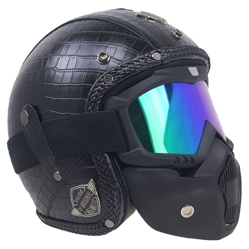 Retro Windproof and Sandproof 3/4 Motorcycle Bike Full Face Helmet PU Leather Helmets for Harley
