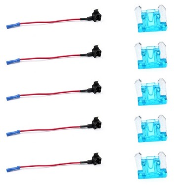 10Pcs 12V Car Add-a-circuit Low Profile Mini Fuse Tap Adapter Mini Blade Fuse Holder with 5Pcs 15A Fuses