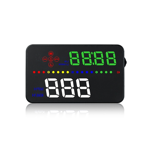 3.5″ Car HUD Head Up Display RPM Engine Speed KM/h & MPH Driving Speed Warning OBDII Interface Color LED Windshield Projector System