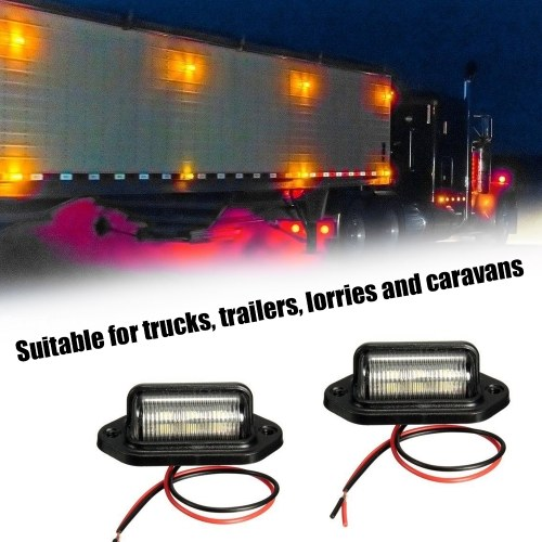 2pcs Trailer Truck Sidelights Clearance Side Marker Light License Plate Lamp with 6 LED Lights Lamps of Motor Trucks