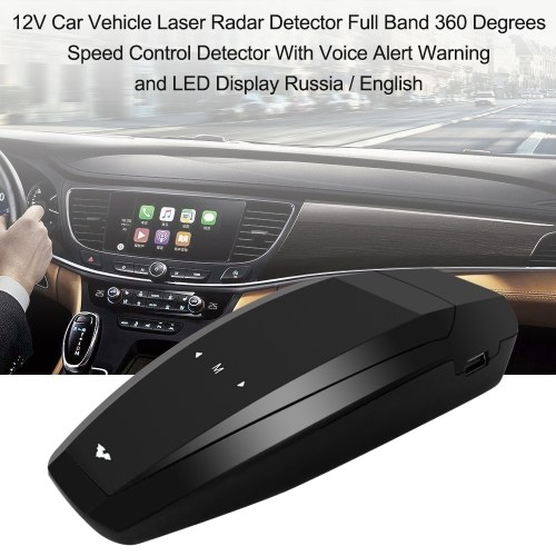 12V Car Vehicle Laser Radar Detector Full Band 360 Degrees Speed Control Detector With Voice Alert Warning and  LED Display Russia / English