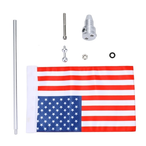 Motorcycle Metal Pole Flagpole Pattern of American Flag Stars and Stripes Onboard Decorative Accessories of Motorbike