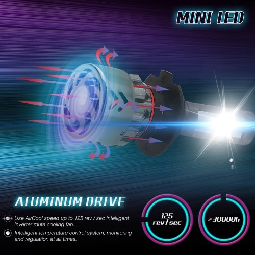 Mini Car LED Headlight Bulbs Conversion Kit H7 60W 6000K 9600LM All-in-One Car Headlamp White